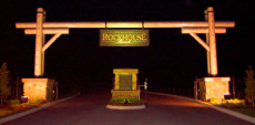 Entrance to Rockhouse Ranch at night